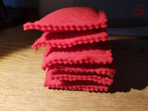Six Little Red Beanbags