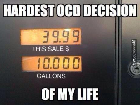 OCD picture with gas pump price at $39.99 and gallons at 10.000
