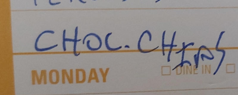 "Shopping list with ""Choc. Chips"" on it"