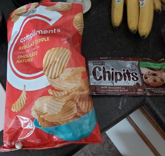 Potato chip bag and chocolate chip bag